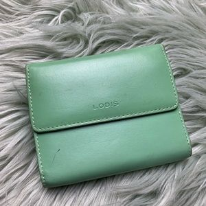Lodis Mint Green Leather Wallet with Card Holder